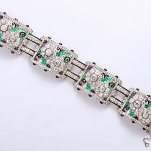 One-of-a-Kind Platinum, Black Enamel, Diamond, Emerald, & Amethyst Bracelet