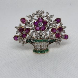 French Basket Brooch Set With Rubies, Emeralds, And Diamonds Mounted In 18Kt Gold And Platinum