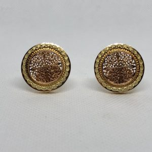 French Three-Color 18Kt Gold Earrings