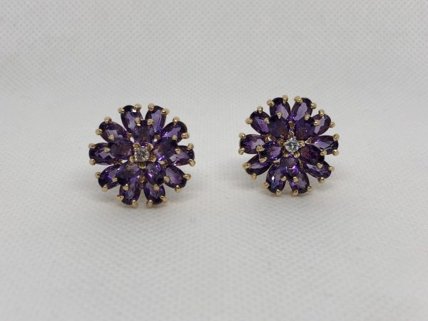 American Amethyst And Diamond Floral Motif Earrings Mounted In 18Kt Gold