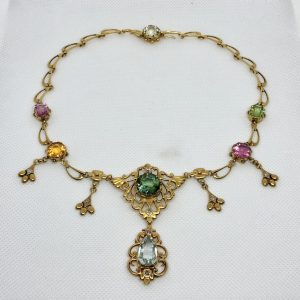 Victorian Multi-Gem And Diamond Necklace