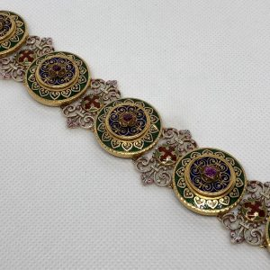 Third Republic 18Kt Gold, Ruby, Blue, Green, Red, And White Enamel Holbeinesque Bracelet