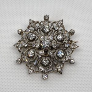 Victorian Diamond Snowflake Brooch/Pendant Mounted In Silver And 18Kt Gold
