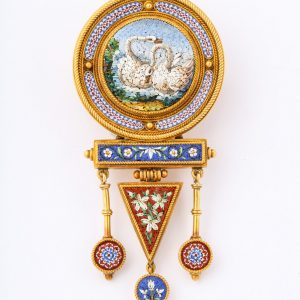 Italian 18Kt Gold And Micro Mosaic Brooch