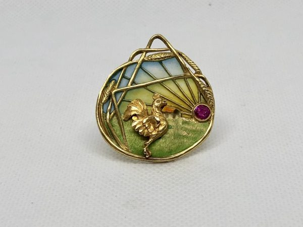 French Plique-A-Jour Enamel And Spinel Brooch/Pendant