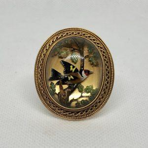 Victorian Reverse Intaglio Crystal Goldfinch Brooch