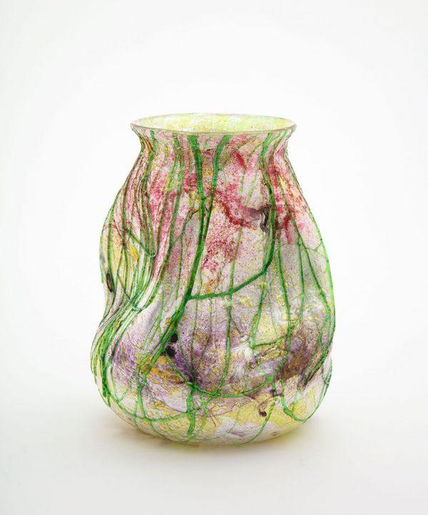 Victorian Period Multi-colored 'Silveria' Glass Vase