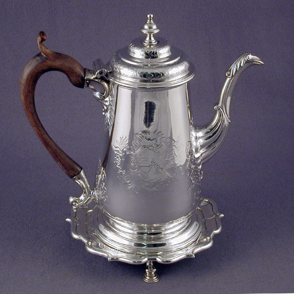 George II Period Sterling Silver Coffee Pot On Stand